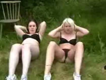 Three girls in a training cam