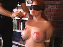 Bound sleek added to clamped tits