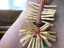 Made from wood clothes pegs..
