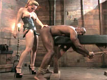 Instigating while strapon black slave