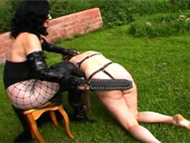 Mistress train her two animals